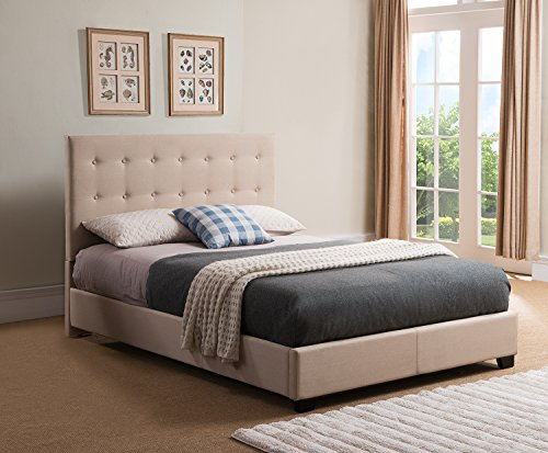 Mantua STR50MT Sebright Upholstered Platform Bed, Queen, Taupe