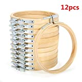KINGSO 12 pieces 4 inch Wooden Embroidery Hoops Adjustable Bamboo Quilting Cross Stitch Hoop Ring Embroidery Circle Set for Art Craft Handy Sewing