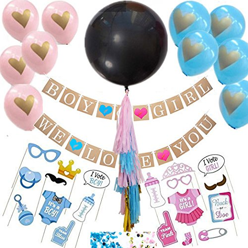 Boy or Girl Gender Reveal Decorations Kit- Boy or Girl Banner + 36'' Blue Pink Tassel Balloons Boy or Girl Photo Booth Props Kit +2 bags Confititi for Pregnancy -
