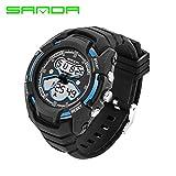 Delight eShop SANDA Waterproof Mens LCD Digital Analog Quartz Date Alarm Sport Wrist Watches (Black&Blue)