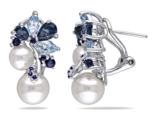 White Freshwater Cultured Pearl, Blue Topaz and Sapphire 3.0 Carat (ctw) Cluster Earrings Sterling Silver from Gem And Harmony