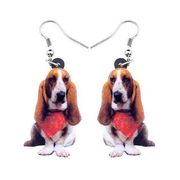 NEWEI Acrylic Sweet Basset Hound Dog Earrings Drop Dangle Fashion Jewelry For Girl Women Gift Charms 1
