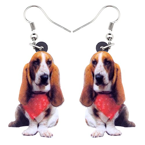 NEWEI Acrylic Sweet Scarf Basset Hound Dog Earrings Drop Dangle Fashion Jewelry For Girl Women Gift Charms (Brown)