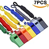 Giveet 7 Pieces Colorful Whistle with Colorful Lanyards, Durable Plastic Whistle for Indoor Outside Party Sports, 7 Colors