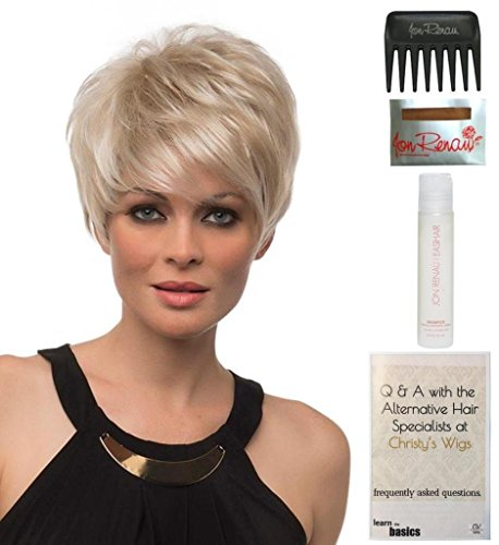 Bundle - 5 items: Shari Large Wig by Envy, 15 Page Christy's Wigs Q & A Booklet, 2oz Travel Size Wig Shampoo, Wig Cap & Wide Tooth Comb COLOR: Light Blonde by Envy & Christy's Wigs