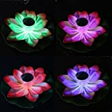f549ffd1ef82e2 Solar Power LED Lotus Light Flower Lamp Floating Pond Garden Pool Nightlight