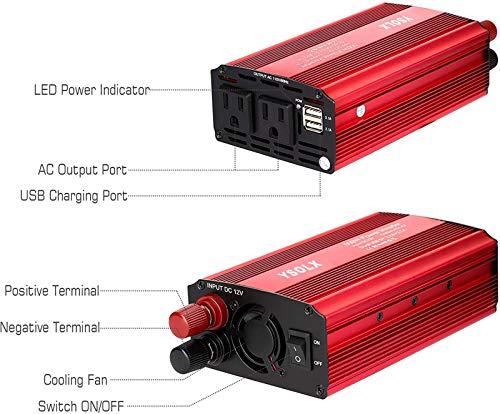 YSOLX 500W Power Inverter DC 12V to 110V AC Converter Car Plug Adapter Outlet Charger for Laptop Computer