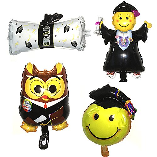 Graduation Foil Balloons Doctor/Boy/Diploma/Smiley Face Shape Balloons 16Inch 4pcs For Party Graduation - Shape Have I Face Do Which