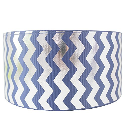 3 Inch 75MM Foil Silver Wave Grosgrain Ribbons Polyester Chevron Ribbon Tape 10 Yards (navy)