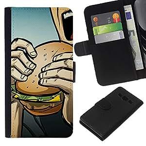 YiPhone /// Tirón de la caja Cartera de cuero con ranuras para tarjetas - Arte pop de Burger - Samsung Galaxy A3