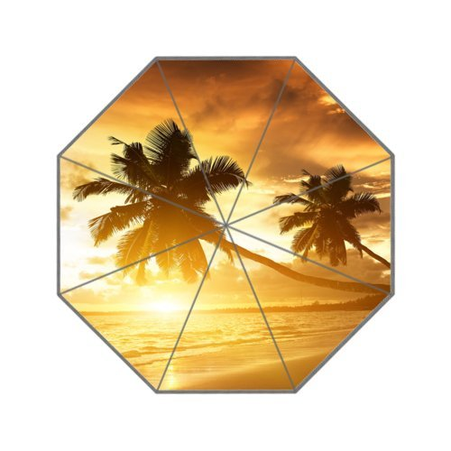 Tropical Hawaii Beach Palm Tree Summer Sunshine Cute Travel Umbrella Manually Foldable 8 ribs Rain Windproof Anti-UV Umbrella for Easy Carrying - Maui Outlets Factory