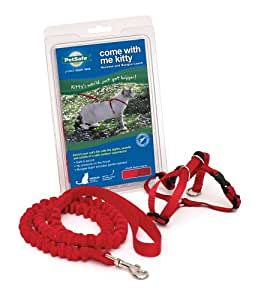 PetSafe Come With Me Kitty Harness and Bungee Leash, Large, Red