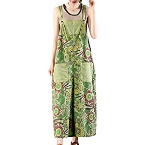 Women's Casual Cropped Jeans Floral Overalls Jumpsuits