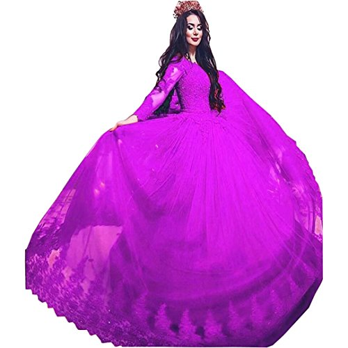 Sleeves Dresses Tulle Off Train Long Ball Fuchsia Lace Women's Dimei Prom Gown Dresses Shoulder Long Quiceanera vxXwEp