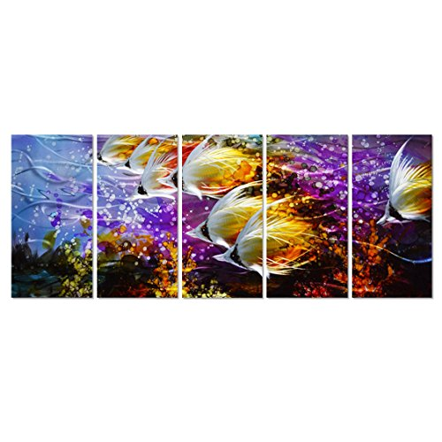 Colorful Tropical School of Fish Metal Wall Art Painting, Large Metal Wall Decor in Tropical Ocean Design, 3D Wall Art for Modern and Contemporary Décor, 5-Panels 24''x 64'', Perfect for Home by Pure Art (Image #7)