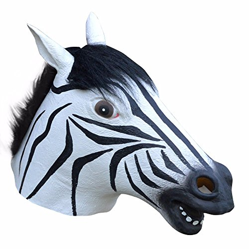 Muching(TM) Halloween Party Cosplay Animal Zebra Mask Latex Anonymous Mask Disguises Of Horse Face Head Mask Party Caretas Disfraces Masque
