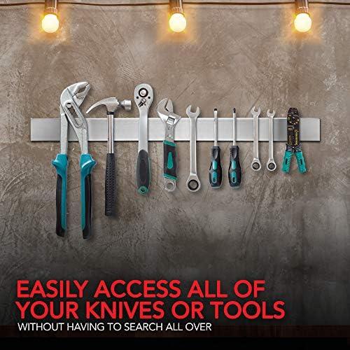 Modern Innovations 24 Inch Stainless Steel Magnetic Knife Bar With Multipurpose Use As Knife Holder, Knife Magnetic Strip, Kitchen Utensil Holder, Tool Holder, Art Supply Organizer & Home Organizer