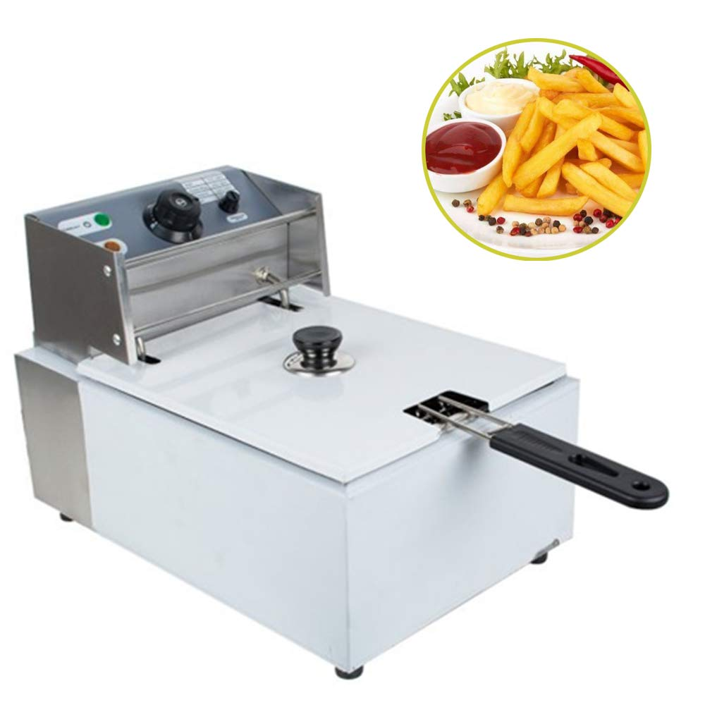 5L Stainless Steel Electric Countertop Deep Fryer Commercial Basket Electric Fry Restaurant 2500W Best Choice For Families, Hotels, Restaurants, 3-7 Days Delivery