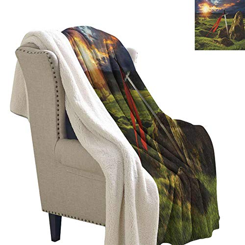 King Winter Quilt Arthur Camelot Legend Myth in England Ireland Fields Invincible Myth Image Reversible Blanket for Bed and Couch Green Blue and Red W59 x L78