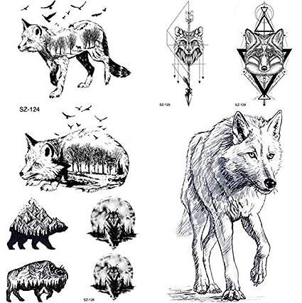 MRKAL Dibujo a lápiz Tatuaje Temporal de los Hombres Lobo Etiqueta ...