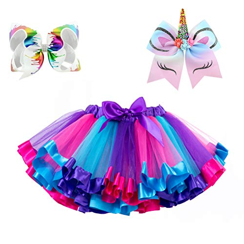 (Moon Kitty Little Girls Layered Ballet Tulle Tutu Skirts Rainbow Dress Up with Colorful Hair Bows)