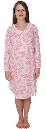Beverly Rock Women s Floral Long Sleeve Nightgown Available in Plus Size  630 Pink XXL b770b4a28