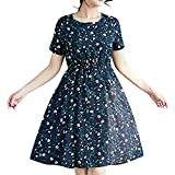 Summer Dress for Womens Stretchy A Line Swing Flared Skater Cocktail Party Casual Dresses Navy