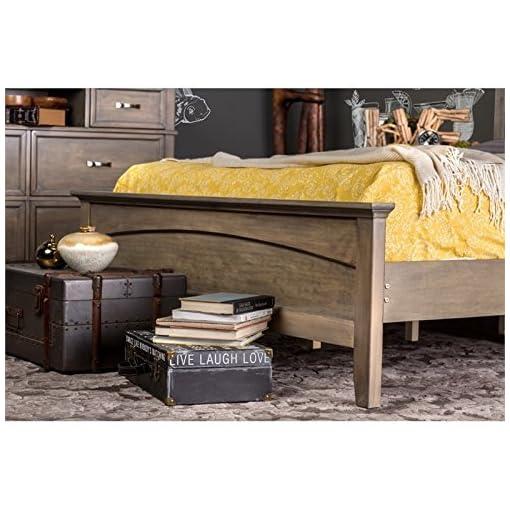 Bedroom Furniture of America Vine II Rustic Style Solid Wood Bed, Queen, Reclaimed Oak farmhouse bedroom sets