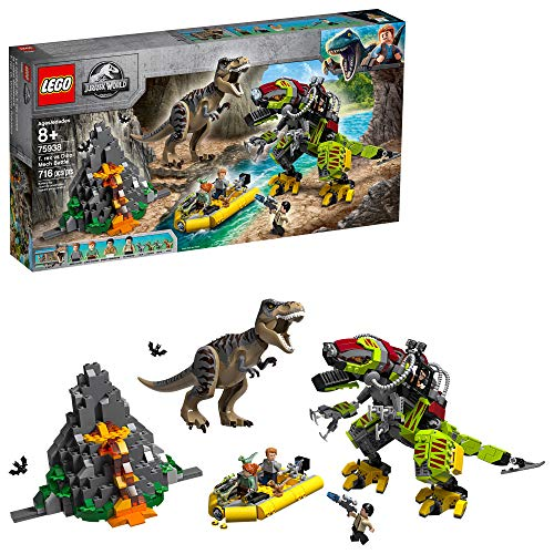 LEGO Jurassic World T. rex vs Dino-Mech Battle 75938, New 2019 (716 Pieces) (Lego Building Gun)