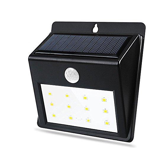 QPAU Solar Light, 12 LED Wireless Waterproof Solar Motion Sensor Light with 3 Modes for Wall, Driveway, Patio, Yard, Garden (3 Wall Light)