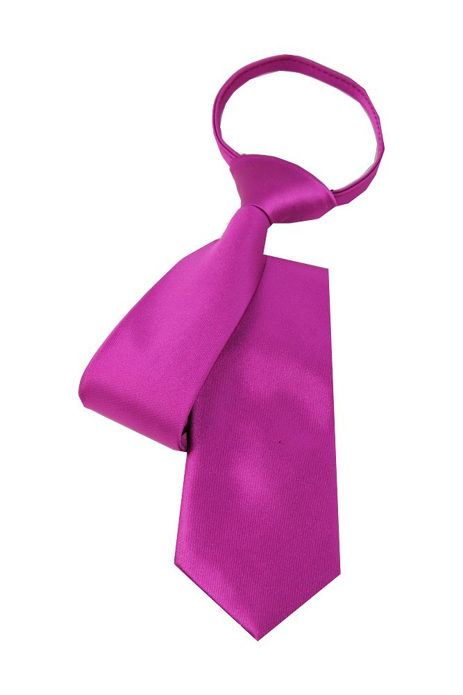 Imani Uomo Solid Boy's Zipper Tie Large - Magenta