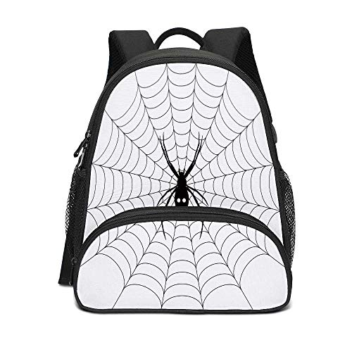 Spider Web Personalized Kids Backpack,Poisonous Bug Venom Thread Circular Cobweb Arachnid Cartoon Halloween Icon Decorative for Kids,10