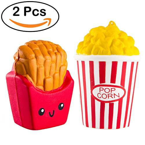 Chekue Squishies Popcorn Fries, Squishy Toys Slow Rising - 2 Pack Kawaii Popcorn and Fries Squishies Food for Kids and Adults, Stress Relief and Fun!