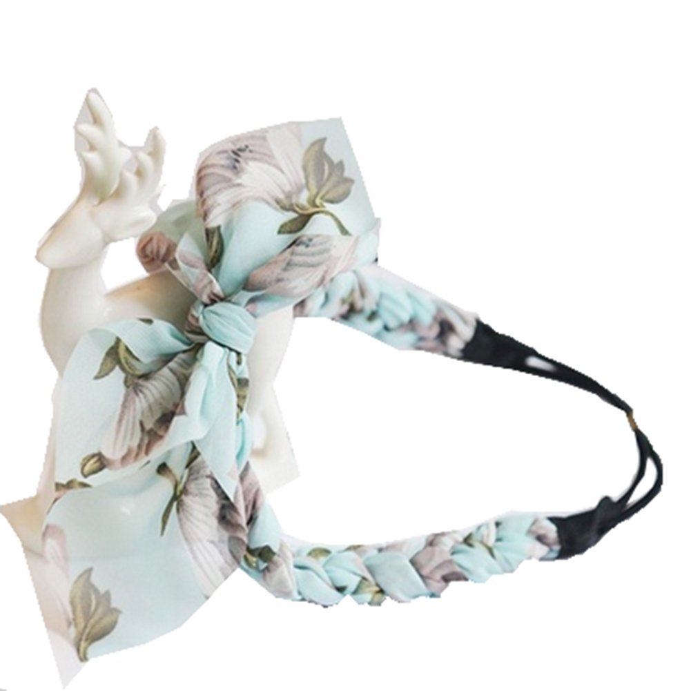 TheFound Fashion Women's Summer Floral Printed Headband Girl Twisted Knotted Fabric Yoga Headwrap (One Size, Blue)