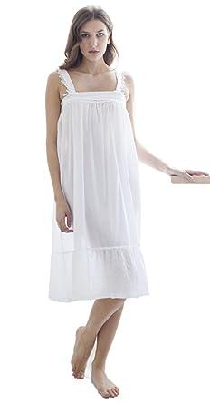 f4ce6438f1a59 Cotton Real - Chemise de Nuit - Femme Blanc Blanc - Blanc - X-Small ...
