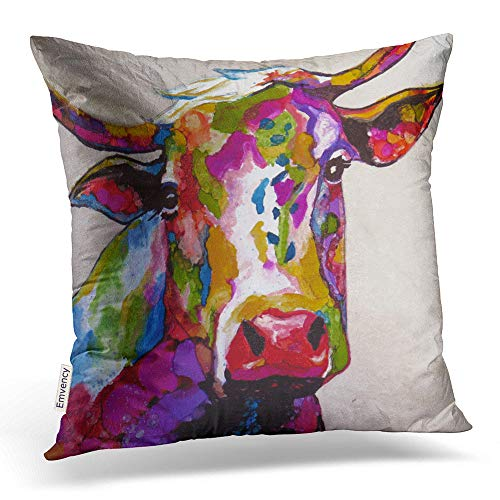 Accrocn Throw Pillow Covers Brilliant Colorful Cow Watercolor Popular Modern Artistic Painting Cushion Decorative Pillowcases Polyester 18 x 18 Inch Square Pillowcase Hidden Zipper