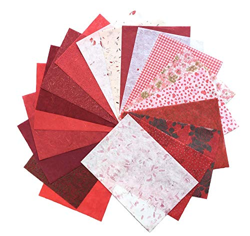 (RATREE SHOP 20 Mixed Red Mulberry Paper Sheet Design Craft Hand Made Art Tissue Japan Origami Washi Wholesale Bulk Sale Unryu Suppliers Card Making Washi Paper Sheets (No09))