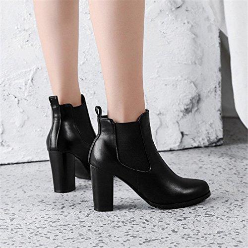 Sandalette Redonda Martin Mujer Botas black Tubo tacón bajo Martin Simples Alto de y Gruesa Botas Botas Cabeza DEDE de ftxrXHqwf