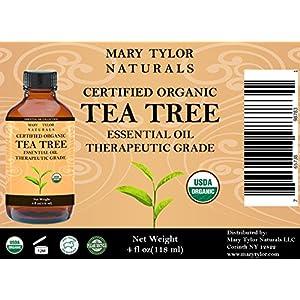 Organic Tea Tree Oil, Large 4 oz USDA Certified Organic, 100% Pure Essential Oil, Therapeutic Grade, Melaleuca alternifolia by Mary Tylor Naturals