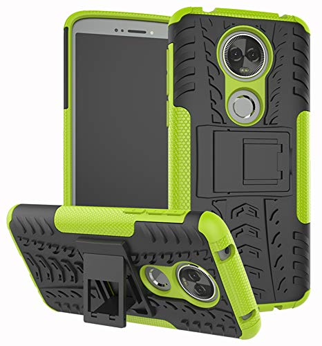 Moto E5 Plus Case, Moto E5 Supra Case, Yiakeng Dual Layer Shockproof Wallet Slim Protective with Kickstand Phone Case Cover for Motorola Moto E Plus (5th Generation) (Green)
