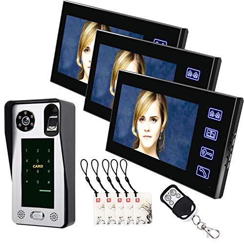 Love life Home Smart Door Lock doorbell Camera 3 Monitors 7inch Fingerprint IC Card Video Door Phone Intercom Doorbell with Door Access Control System