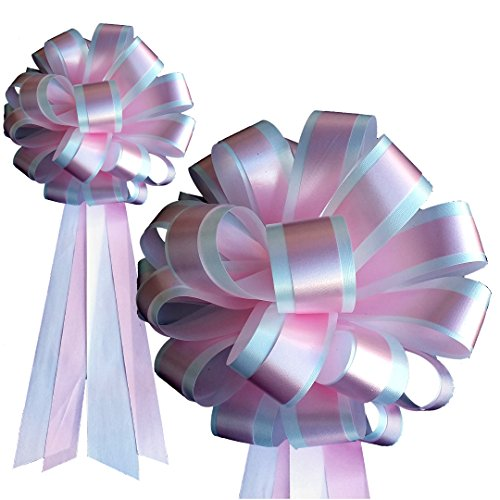 - White & Pink Striped Wedding Pull Bows with Tails for Church Pews and Chairs - 8