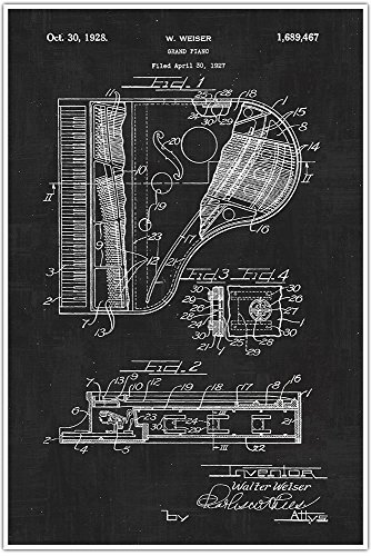 - Musical Instrument Piano Top, Blueprint Patent, Patent Poster, Blueprint Poster, Art, Gift, Poster Print, Patent Poster