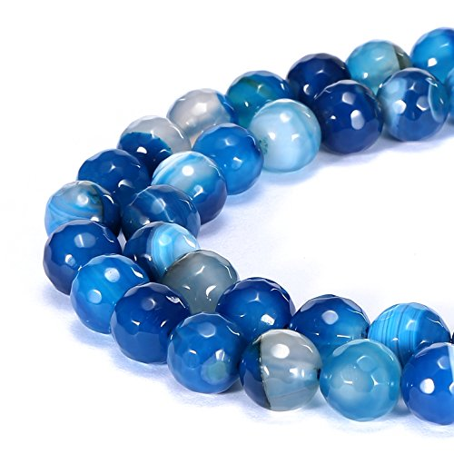 - BRCbeads Gorgeous Natural Sky Blue Stripe Agate Gemstone Faceted Round Loose Beads 10mm Approxi 15.5 inch 35pcs 1 Strand per Bag for Jewelry Making