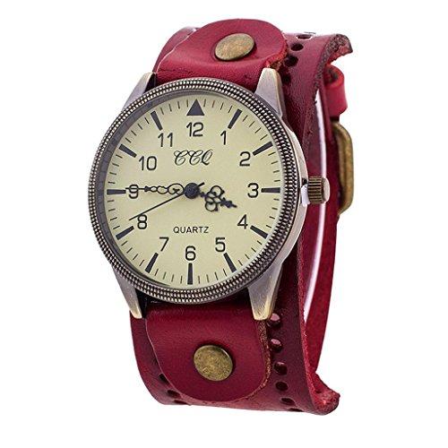 SANNYSIS Luxury Brand Vintage PU Leather Watch Men Women Wristwatch Ladies Dress Quartz Watch Red