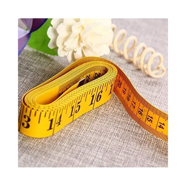 2Pcs 300cm 120″ Soft Yellow Plastic Flexible Dieting Ruler Tailor Sewing Cloth Measure Tape 51ZptguofYL