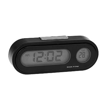 Footprintse 2-en-1 Auto Reloj electrónico Reloj termómetro Luminoso LED Pantalla Digital Mini Tablero portátil Reloj Accesorios del Coche-Color: Negro: ...