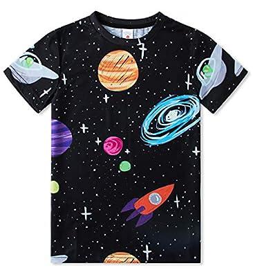 TUONROAD Kids Boys 3D Graphic Printed T-Shirt Crewneck Shirt Short Sleeve Unisex Tee 6T-16T