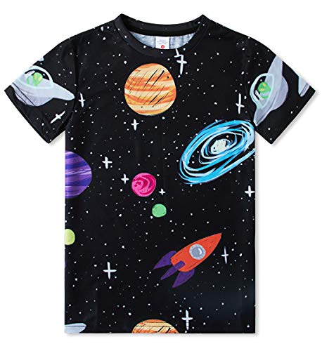 Kids Boy's T-Shirts Black Crew Neck Short Sleeve Shirts Space Tie Dye Tops 3D Printed Spray Paint Clothing Cool Outfit Clothes for 10-12 Years