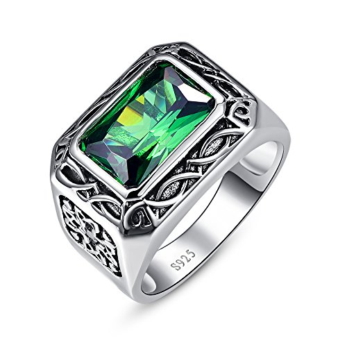 Bonlavie 6.85ct Solid 925 Sterling Silver Created Emerald Daily Ring for Men Size 10
